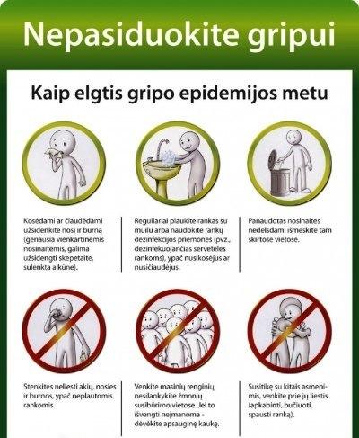 KAIP ELGTIS GRIPO EPIDEMIJOS METU!