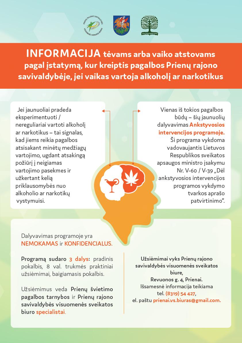 Informacija tėvams arba vaiko atstovams, kur kreiptis pagalbos Prienų rajono savivaldybėje, jei vaikas vartoja alkoholį ar narkotikus