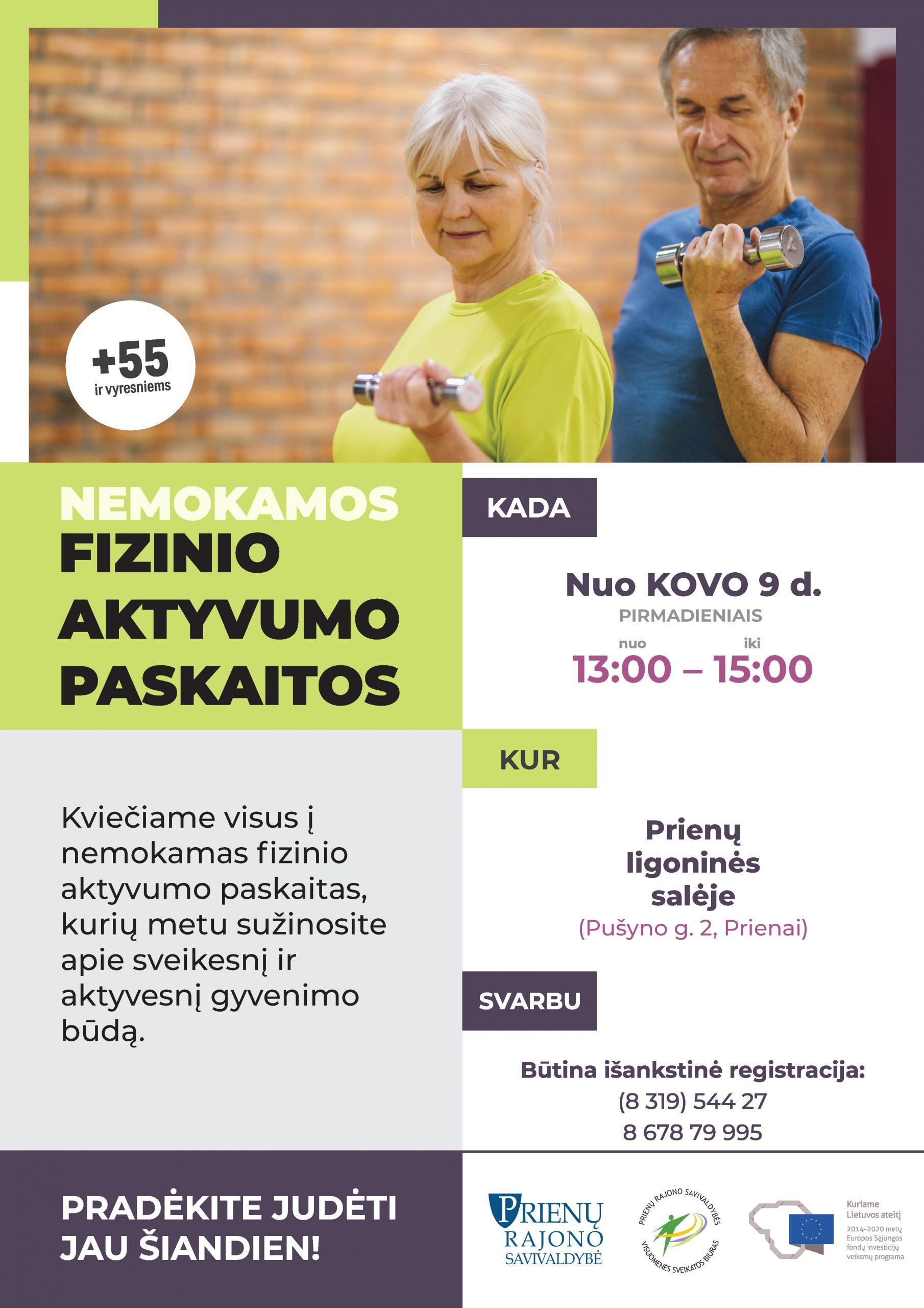 Kviečiame Išlaužo ir Prienų  seniūnijos gyventojus į nemokamas fizinio aktyvumo paskaitas!