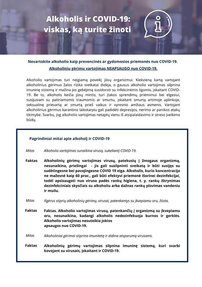 Kviečiame susipažinti su Pasaulio sveikatos organizacijos rekomendacijomis dėl alkoholio vartojimo COVID-19 pandemijos metu.