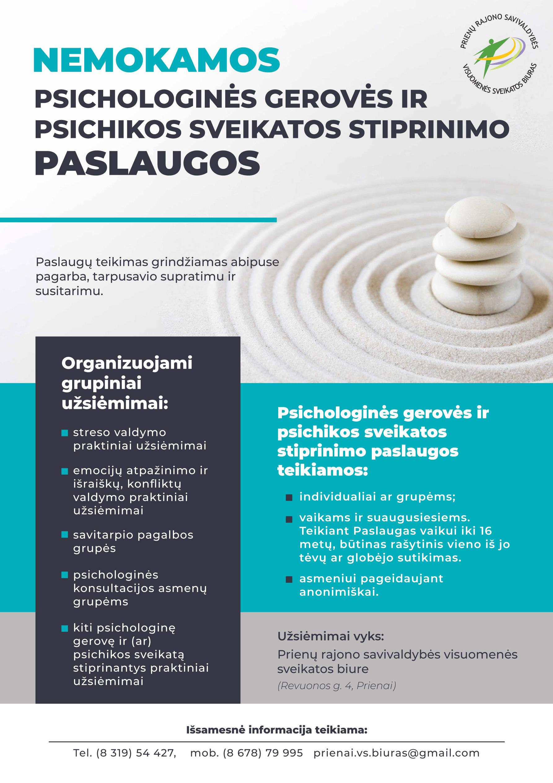 Nemokamos psichologinės gerovės ir psichikos sveikatos stiprinimo paslaugos