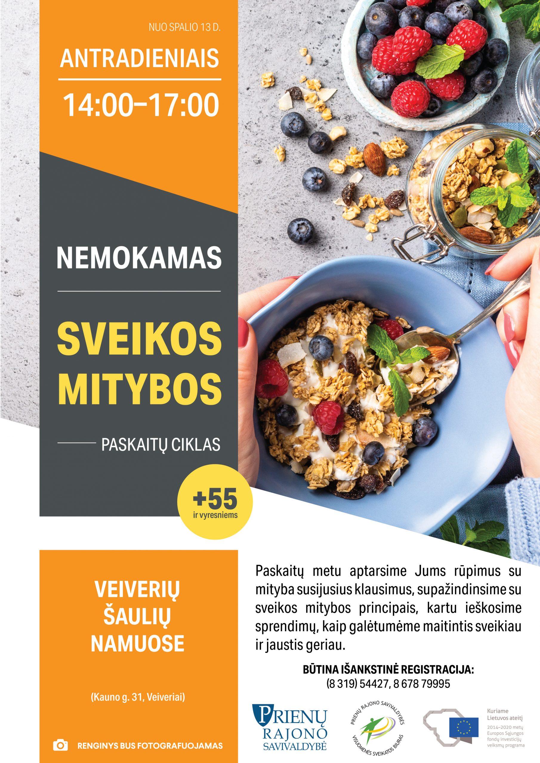 Kviečiame Veiverių ir Šilavoto seniūnijų gyventojus į nemokamas sveikos mitybos paskaitas!