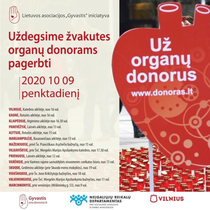 Šalyje suliepsnos žvakutės 1779 organų donorams atminti