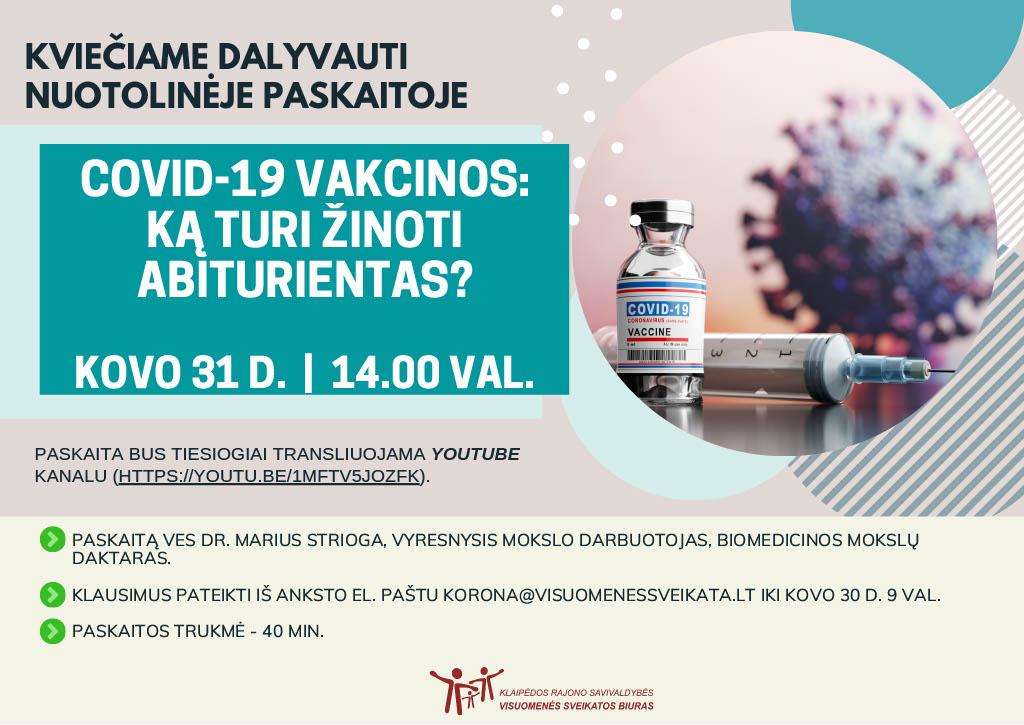 """Kviečiame abiturientus į nuotolinę paskaitą """"COVID-19 vakcinos: ką turi žinoti abiturientas?"""""""