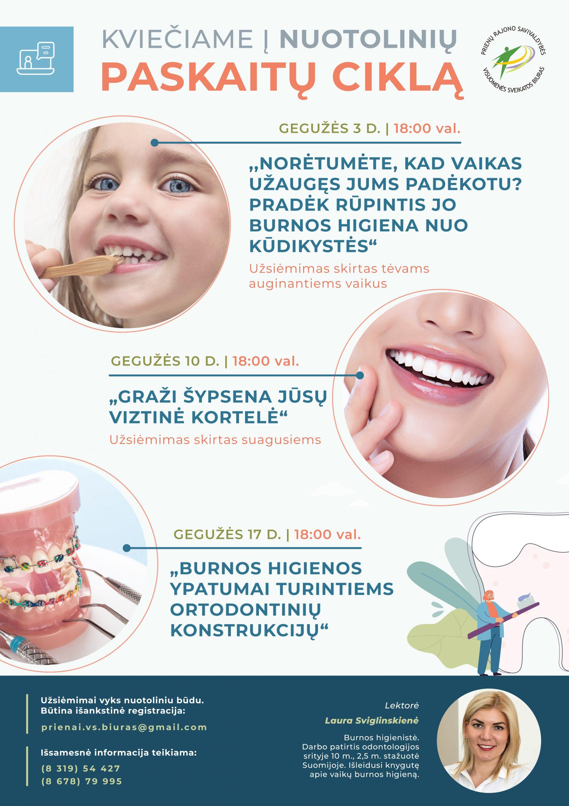 Kviečiame į nuotolines paskaitas burnos higienos temomis