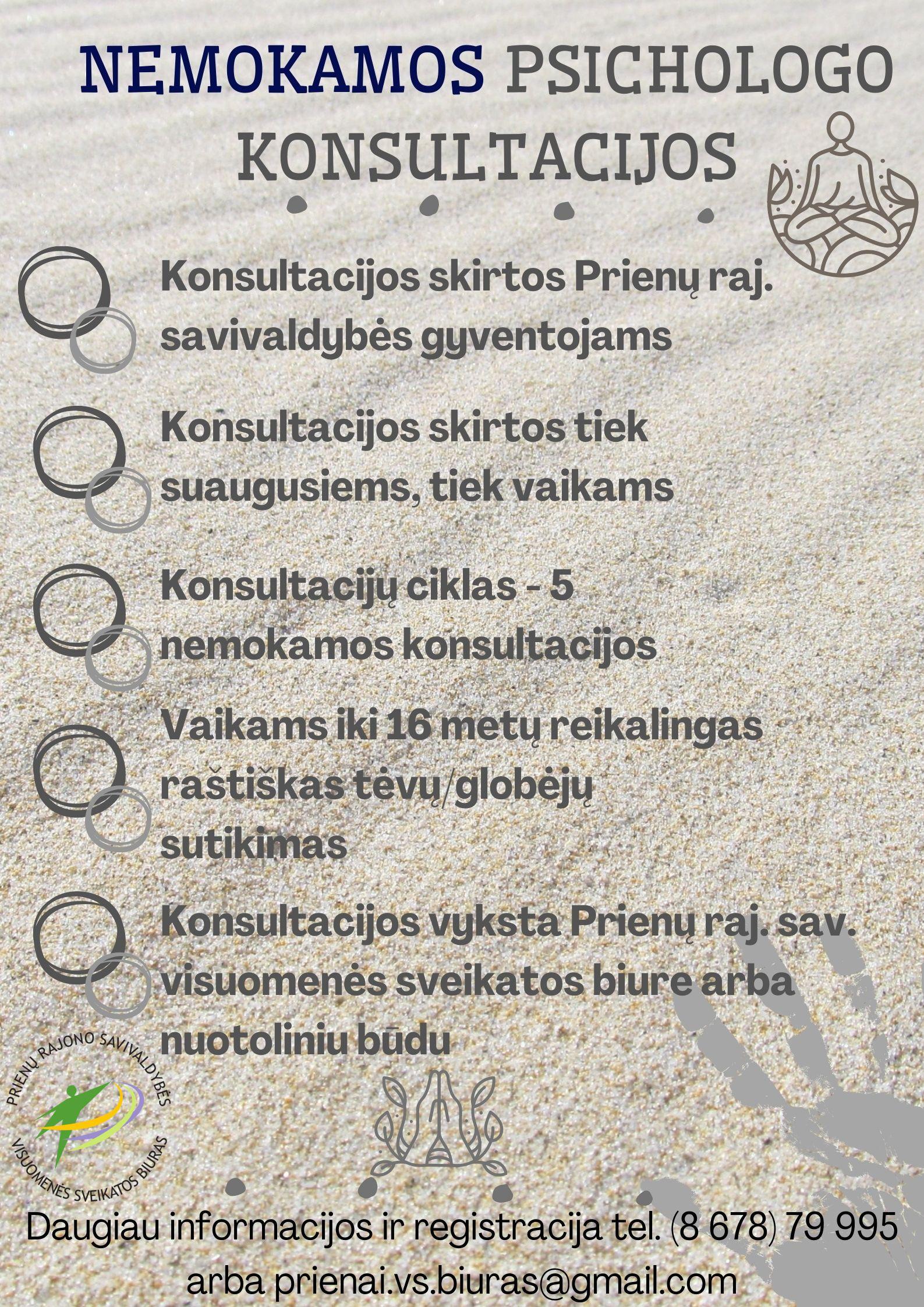 Kviečiame Prienų rajono gyventojus į nemokamas individualias psichologo konsultacijas